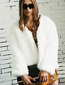 cheap Women's Fur Coats-Women's Going out Plus Size Faux Fur Fur Coat - Solid Colored V Neck