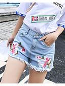 billige Tights til damer-Dame Chic & Moderne Tynn Shorts Jeans Hengende Shorts Bukser Blomstret Broderi