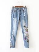 זול חולצה-מכנסיים - רקום, אחיד סקיני ג'ינסים סגנון רחוב בגדי ריקוד נשים