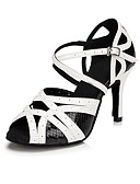 cheap Women's Blouses-Women's Latin Shoes Leather Sandal Customized Heel Dance Shoes Black / White / Indoor