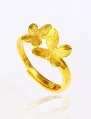 baratos Quartz-Mulheres cuff Anel - Chapeado Dourado Flor, Borboleta, Animal Básico, Fashion, Elegante Ajustável Dourado Para Aniversário Noivado Presente