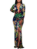 cheap Women's Dresses-Women's Plus Size Club Boho Bodycon Dress - Floral Split High Rise Maxi Deep V