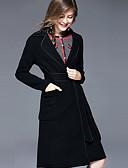 זול מעיל&מעיל גשם-אחיד צווארון V סגנון סיני ליציאה ארוך מעיל - בגדי ריקוד נשים