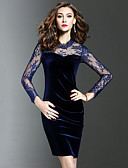 cheap Romantic Lace Dresses-Women's Velvet Plus Size Party / Going out Elegant Sheath Dress - Solid Colored Black, Lace Spring Blue Black XL XXL XXXL / Slim