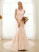 cheap Wedding Dresses-Mermaid / Trumpet V Neck Court Train Lace / Tulle Made-To-Measure Wedding Dresses with Beading / Appliques / Buttons by LAN TING BRIDE® / Wedding Dress in Color / See-Through