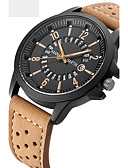 cheap Quartz Watches-Men's Sport Watch / Military Watch / Wrist Watch Chinese Calendar / date / day / Water Resistant / Water Proof / Creative Leather Band Charm / Luxury / Vintage Black / Orange / Brown