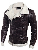 cheap Men's Jackets & Coats-Men's Slim Leather Jacket - Solid Colored / Long Sleeve