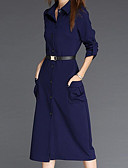cheap Women's Sweaters-Women's Daily Sheath Dress - Solid Colored V Neck Spring Cotton Black Navy Blue Wine L XL XXL