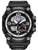 cheap Sport Watches-SMAEL Men's Sport Watch Military Watch Digital Watch Japanese Quartz Quilted PU Leather Silicone Black / Red / Orange 50 m Water Resistant / Waterproof Calendar / date / day Chronograph Analog-Digital