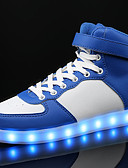 cheap Women's Coats & Trench coats-Boys' Shoes PU Spring / Fall Comfort Sneakers Lace-up / LED for White / Black / Blue