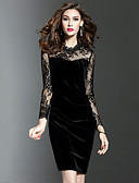 cheap Women's Dresses-Women's Plus Size Work Bodycon Dress - Patchwork Black, Lace Mesh