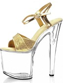 cheap Leggings-Women's Shoes Sparkling Glitter Summer Formal Shoes Sandals Stiletto Heel Peep Toe Sparkling Glitter / Buckle Gold / Silver