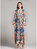 cheap Women's Blouses-Women's Floral Daily / Going out Jalabiya Dress - Solid Colored Print Summer Cotton Rainbow XL XXL XXXL