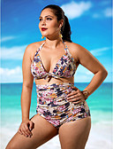 cheap Women's Swimwear & Bikinis-Women's High Waist Plus Size Vintage Halter Neck White Black Wine High Waist Bikini Swimwear - Floral Print