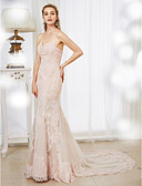 cheap Wedding Dresses-Mermaid / Trumpet Sweetheart Neckline Court Train Lace / Tulle Made-To-Meature Wedding Dresses with Beading / Appliques by LAN TING BRIDE®