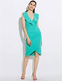 abordables Vestidos de Mujer-Mujer Noche Chic de Calle Corte Bodycon Vestido - Volante, Un Color Tiro Alto Midi Escote en V Profunda / Verano