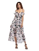 cheap Women's Dresses-Women's Beach Going out Holiday Cute Butterfly Sleeve Sheath Swing Dress - Floral Ruffle Maxi Strap