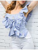 cheap Women's Hoodies & Sweatshirts-Women's Cotton Blouse - Striped One Shoulder / Summer / Fine Stripe