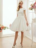 hesapli Gelinlikler-A-Şekilli / Prenses Taşlı Yaka Diz Boyu Saten Kurdeleler ile Kıyafetli Gelinlikler tarafından LAN TING BRIDE® / Küçük Beyaz Elbiseler