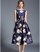 cheap Women's Dresses-Women's Holiday / Going out Street chic A Line / Swing Dress - Floral High Rise / Floral Patterns