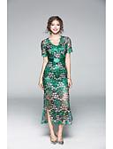 preiswerte Damen Kleider-Damen Hülle Kleid - Druck, Solide V-Ausschnitt