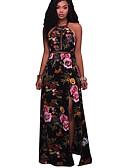 baratos Vestidos de Mulher-Mulheres Bandagem Bainha Vestido - Vazado Fenda, Floral Nadador Cintura Alta Longo Preto
