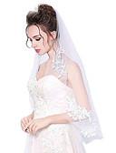 preiswerte Hochzeitsschleier-Einschichtig Schnittkante Hochzeitsschleier Ellbogenlange Schleier Mit Applikationen Tüll