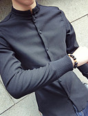 cheap Men's Shirts-Men's Cotton Shirt - Solid Colored / Turtleneck / Long Sleeve