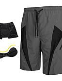 baratos Calças e Shorts Masculinos-SANTIC Homens Bermudas Acolchoadas Para Ciclismo - Cinzento Moto Shorts / Bermudas para MTB / Shorts Acolchoados, Tapete 3D, Secagem
