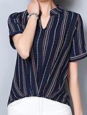 preiswerte Hemd-Damen Gestreift Hemd, V-Ausschnitt