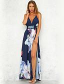 cheap Print Dresses-Women's Party / Beach Chiffon / Swing Dress - Floral Blue, Backless / Print Maxi Strap / Sexy