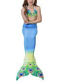 preiswerte Bikinis und Bademode 2017-Prinzessin Meerjungfrau Märchen Bikini Bademode Kinder Mädchen Halloween Karneval Kindertag Fest / Feiertage Halloween Kostüme Blau