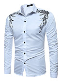 cheap Men's Shirts-Men's Chinoiserie Cotton Shirt - Check Classic Collar / Long Sleeve
