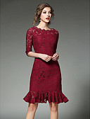 cheap Women's Dresses-Women's Going out Cotton Slim Sheath Dress - Solid Colored Jacquard Lace