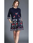 cheap Women's Dresses-SHE IN SUN Women's Street chic A Line Loose Dress - Floral Mini Crew Neck