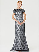 cheap Mother of the Bride Dresses-Sheath / Column Bateau Neck Sweep / Brush Train Lace Mother of the Bride Dress with Ruched by LAN TING BRIDE®