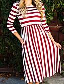 baratos Vestidos de Mulher-Mulheres Para Noite Moda de Rua Algodão balanço Vestido Listrado Longo