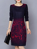 cheap Women's Dresses-Women's Plus Size Casual Cotton Sheath Dress - Abstract Print / Slim