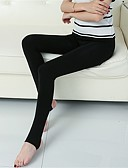 cheap Leggings-Women's Daily Fleece Lined Legging - Solid Colored Mid Waist / Fall / Winter / Skinny