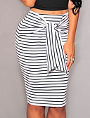 cheap Women's Skirts-Women's Work Bodycon Skirts - Striped Color Block Bow