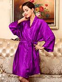 זול חלוקים & Sleepwear-בגדי ריקוד נשים חלוקים Nightwear קלאסי, אחיד / צווארון V