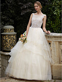 cheap Wedding Dresses-Ball Gown Bateau Neck Court Train Lace / Tulle Made-To-Measure Wedding Dresses with Beading / Appliques / Tiered by LAN TING BRIDE®