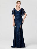 cheap Bridesmaid Dresses-Sheath / Column V Neck Sweep / Brush Train Lace Open Back Cocktail Party / Formal Evening Dress with Split Front by TS Couture®