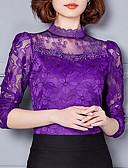 baratos Cintos de Moda-Mulheres Camiseta - Para Noite Renda, Sólido Colarinho Chinês / Outono / Inverno / Rendas