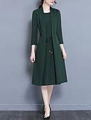 저렴한 여성 드레스-여성용 플러스 사이즈 데이트 빈티지 / 정교한 디테일 / 시누아즈리 칼집 드레스 - 솔리드 미디