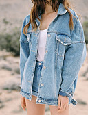 cheap Women's Denim Jackets-Women's Going out Denim Jacket - Solid Colored Shirt Collar / Spring