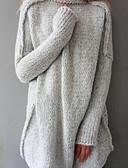 levne Košile-Dámské Rolák Dlouhý rukáv Volné Dlouhé Rolák Jednobarevné Bavlna