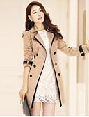 baratos Trench Coats e Casacos Femininos-Mulheres Casaco Longo Activo-Estampa Colorida Colarinho Chinês
