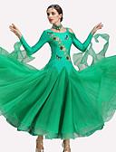 お買い得  ソシアルダンスウェア-ボールルームダンス ドレス 女性用 性能 ポリエステル / スパンデックス クリスタル / ラインストーン 長袖 ドレス / Neckwear