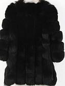 tanie Damskie płaszcze z futrem naturalnym i sztucznym-Damskie Jesień / Zima Puszysta Długie Futro, Solidne kolory Okrągły dekolt Długi rękaw Sztuczne futro Żółtobrązowy / Jasnoszary / Królewski błękit XXL / XXXL / XXXXL